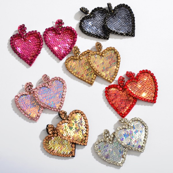 "Rhinestone Sequin Felt Heart Statement Drop Earrings.  - Approximately 2"" L x 1.5"" W"