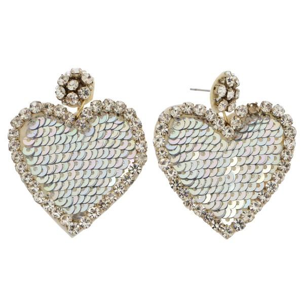 """Rhinestone Sequin Felt Heart Statement Drop Earrings.  - Approximately 2"""" L x 1.5"""" W"""