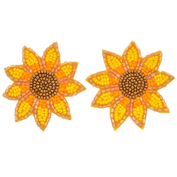 """Oversized Seed Beaded Sunflower Felt Stud Earrings.  - Approximately 2"""" in Diameter"""