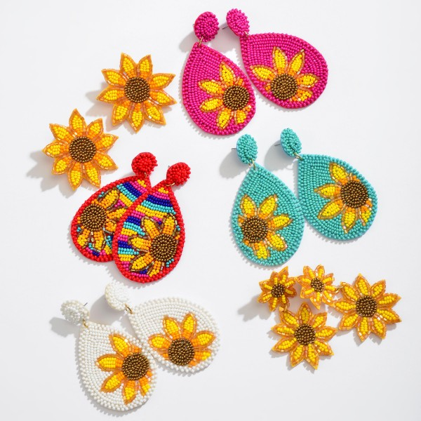 """Seed Beaded Sunflower Felt Teardrop Statement Earrings.  - Approximately 3"""" in Length"""