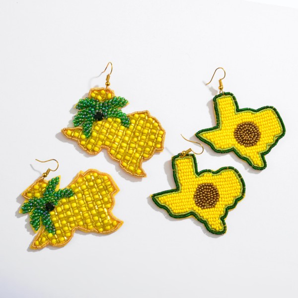 "Beaded Pineapple Texas State Felt Statement Drop Earrings.  - Approximately 3"" L x 2.5"" W"