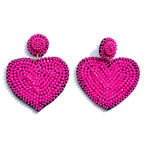 "Seed Beaded Felt Heart Statement Drop Earrings.  - Approximately 2.5"" L x 2"" W"
