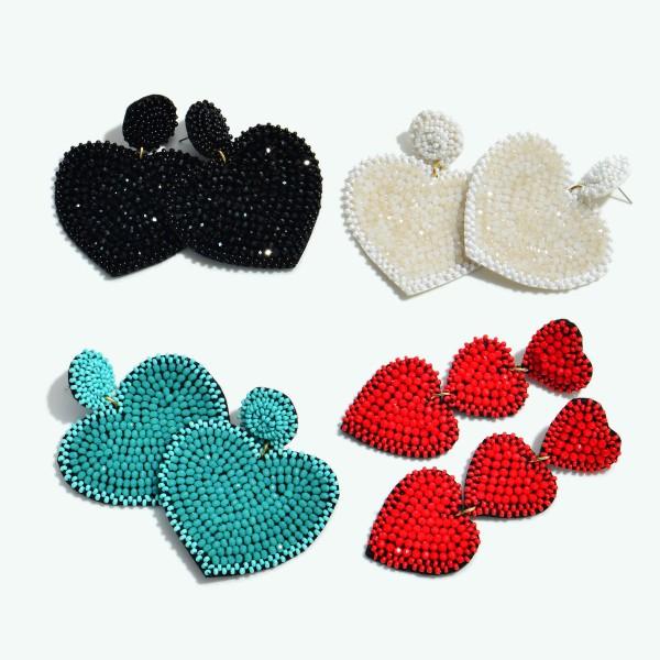 """Seed Beaded Felt Heart Statement Drop Earrings.  - Approximately 2.5"""" L x 2"""" W"""