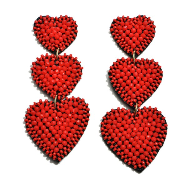 "Beaded Heart Tier Statement Drop Earrings.  - Approximately 3"" in Length"