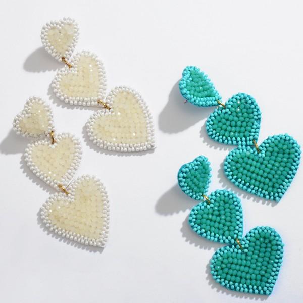 "Beaded Heart Tier Statement Drop Earrings.  - Approximately 3"" in Length"