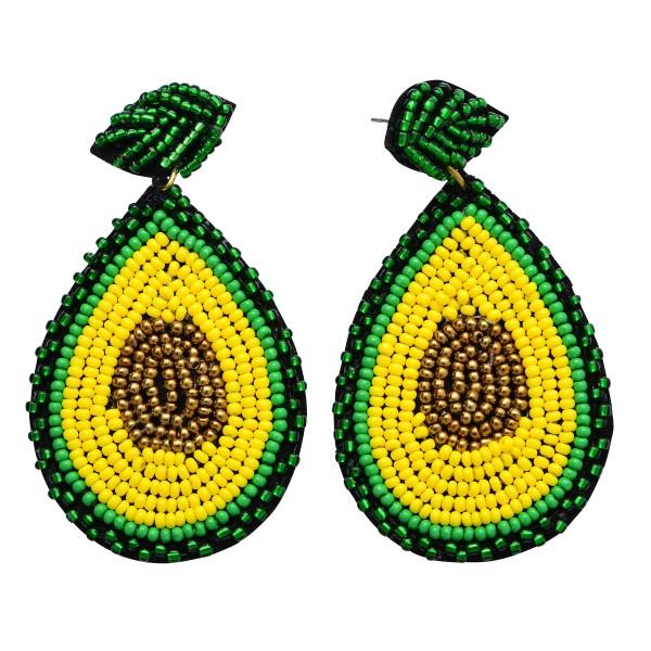 """Seed Beaded Avocado Felt Teardrop Earrings.  - Approximately 2.5"""" in Length"""