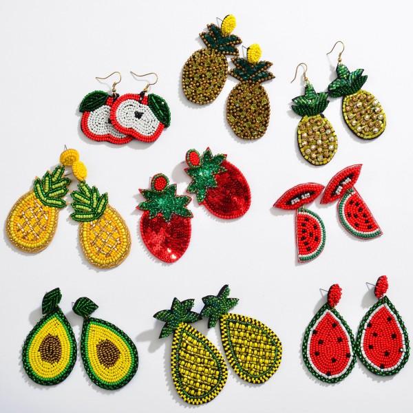"""Seed Beaded Pineapple Felt Teardrop Earrings.  - Approximately 3"""" in Length"""