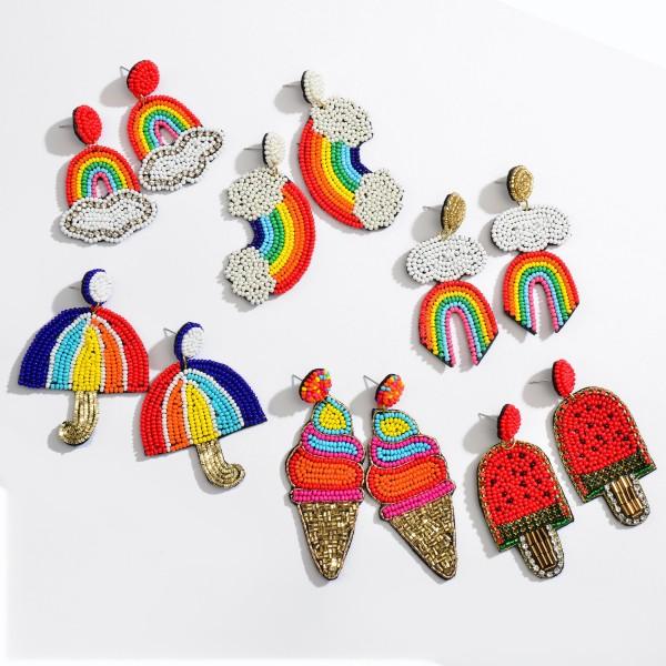 "Seed Beaded Rainbow Felt Statement Drop Earrings.  - Approximately 2.75"" in Length"