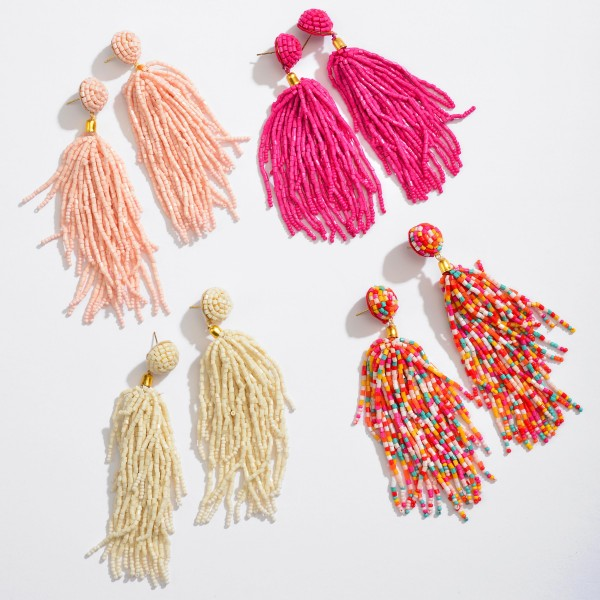 "Seed Beaded Tassel Statement Drop Earrings.  - Approximately 4"" in Length"