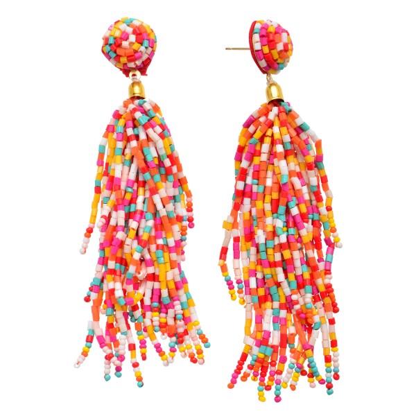 "Seed Beaded Tassel Statement Drop Earrings.  - Approximately 4"" in Length"