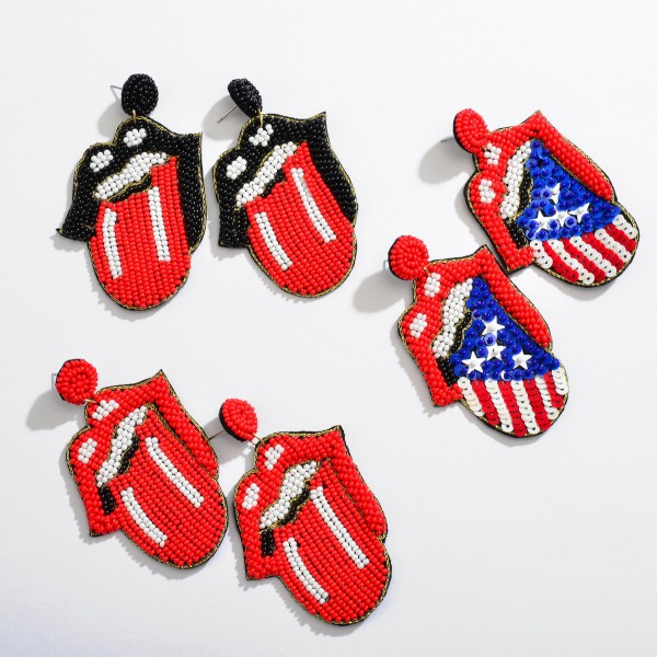 """Seed Beaded Sequin USA Rolling Stone Felt Statement Drop Earrings.  - Approximately 3"""" L x 2.5"""" W"""