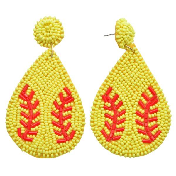 "Seed Beaded Softball Felt Teardrop Earrings.  - Approximately 3"" in Length"