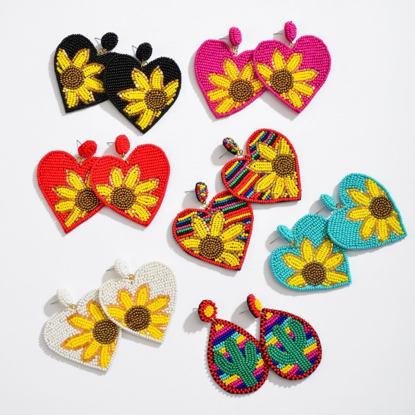 "Seed Beaded Sunflower Felt Heart Statement Drop Earrings.  - Approximately 2.5"" L x 2"" W"