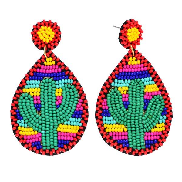 "Seed Beaded Serape Cactus Teardrop Statement Earrings.  - Approximately 2.5"" in Length"