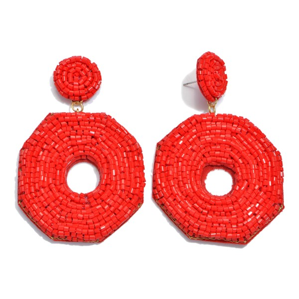 "Seed Beaded Felt Ring Statement Drop Earrings.  - Approximately 3"" L x 2"" W"