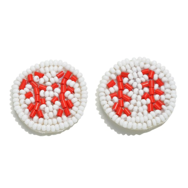 "Seed Bead Felt Basketball Stud Earrings.  - Approximately 1"" in Diameter"