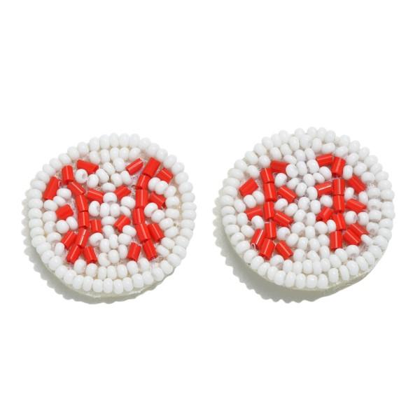 "Seed Beaded Felt Basketball Stud Earrings.  - Approximately 1"" in Diameter"