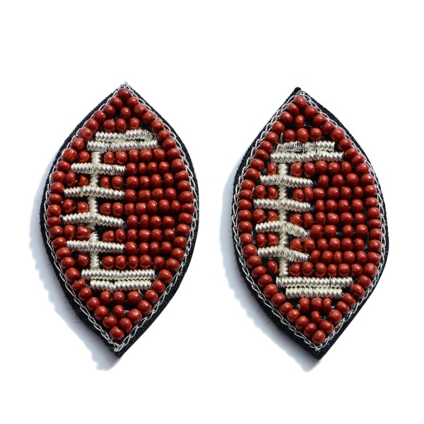 "Seed Beaded Felt Football Stud Earrings.  - Approximately 1"" in Diameter"
