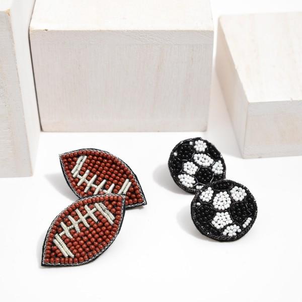 """Seed Beaded Felt Soccer Stud Earrings.  - Approximately 1"""" in Diameter"""