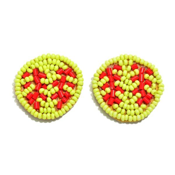 "Seed Bead Felt Softball Stud Earrings.  - Approximately 1"" in Diameter"