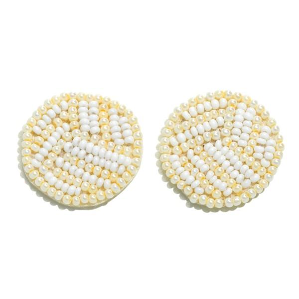 "Seed Beaded Felt Volleyball Stud Earrings.  - Approximately 1"" in Diameter"