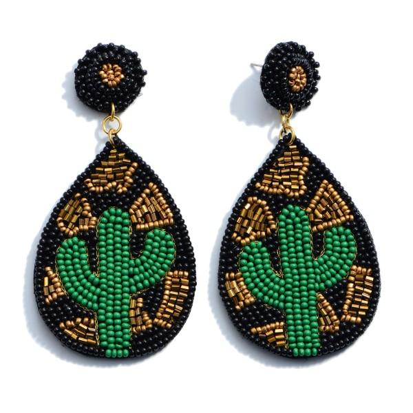 """Seed Beaded Leopard Cactus Felt Teardrop Statement Earrings.  - Approximately 3"""" in Length"""