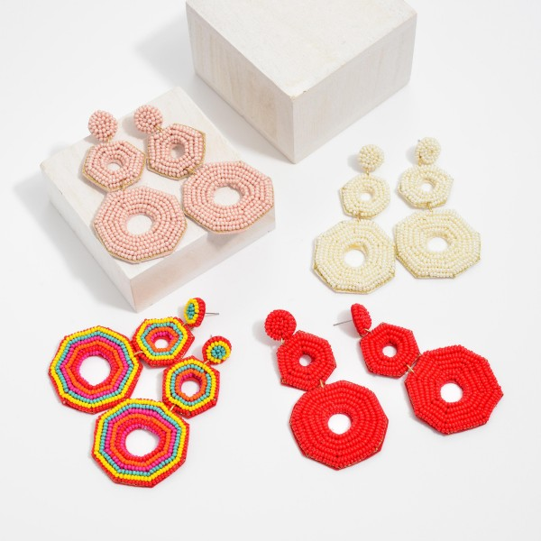 """Seed Beaded Circle Linked Felt Statement Drop Earrings.  - Approximately 3"""" in Length"""
