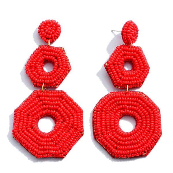 Wholesale seed Beaded Circle Linked Felt Statement Drop Earrings
