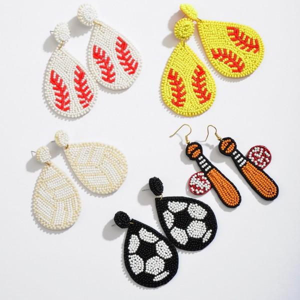 """Seed Beaded Soccer Felt Teardrop Earrings.  - Approximately 3"""" in Length"""