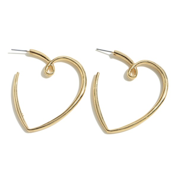 Heart Hoop Earrings.  - Approximately 2""