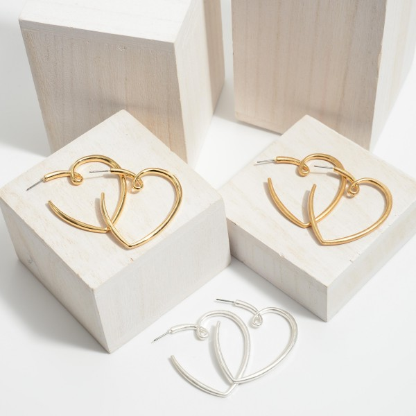 Heart Hoop Earrings in a Worn Finish.  - Approximately 2""