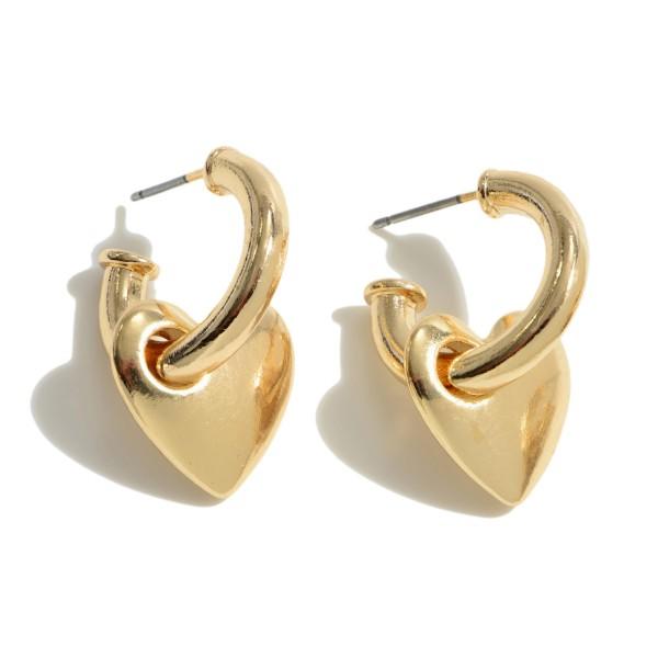 """Heart Huggie Hoop Earrings.  - Approximately .75"""" in Hoop Diameter - Approximately 1"""" in Length"""