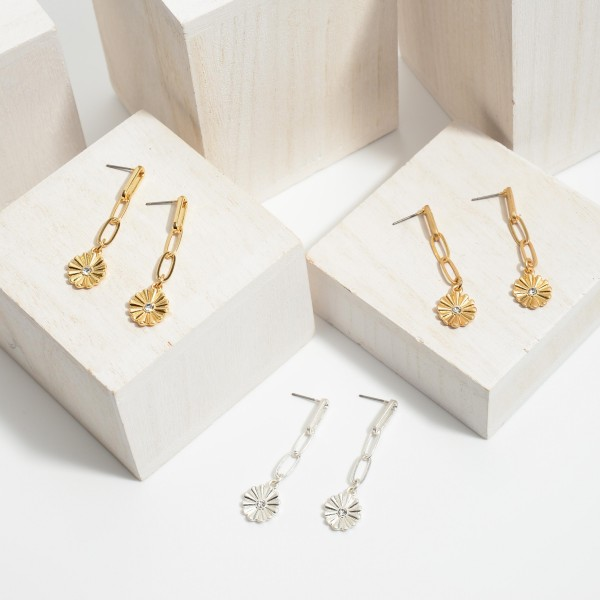 "Chain Link Flower Drop Earrings.  - Approximately 2"" in Length"