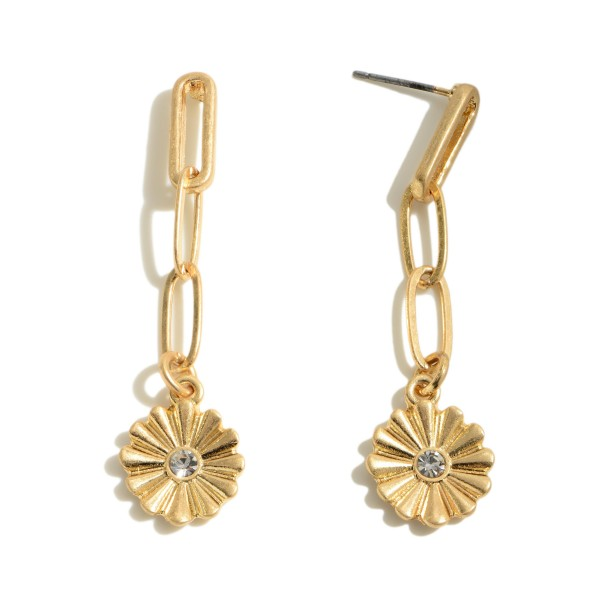 """Chain Link Flower Drop Earrings in a Worn Finish.  - Approximately 2"""" in Length"""