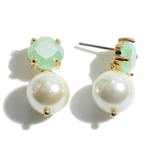 "Semi Precious Pearl Drop Earrings.  - Pearl 11mm in Diameter - Approximately 1"" in Length"