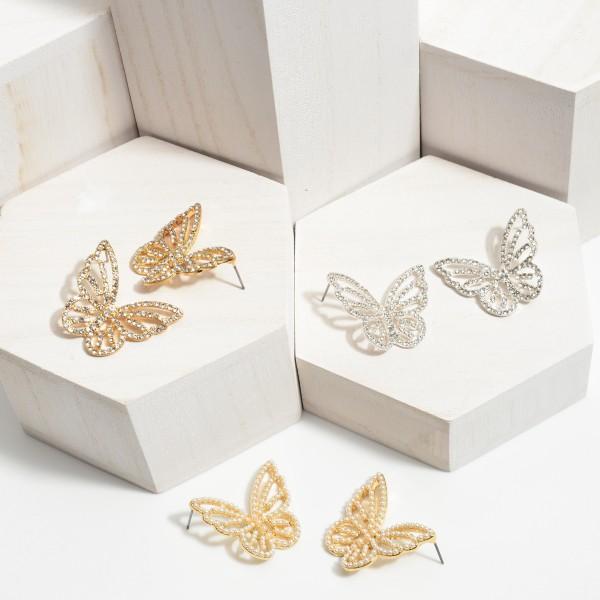 """Rhinestone Butterfly Drop Earrings.  - Approximately 1.25"""" in Length"""