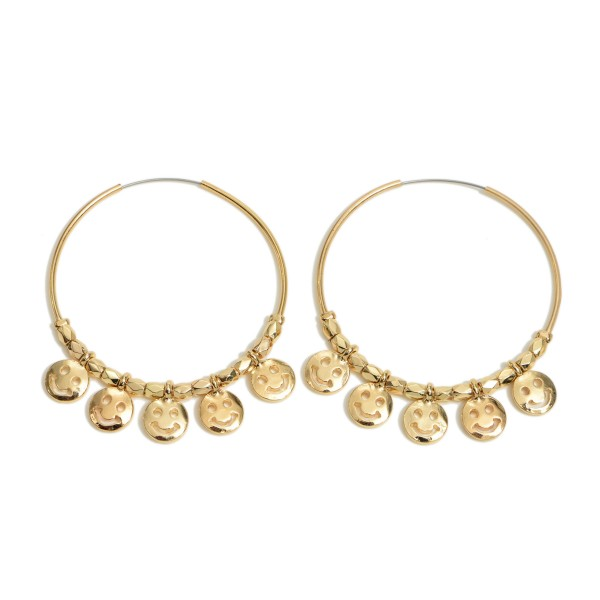 """Smiley Face Beaded Hoop Earrings.  - Smiley Face's approximately 1cm  - Approximately 2"""" in Hoop Diameter - Approximately 2"""" in Length"""