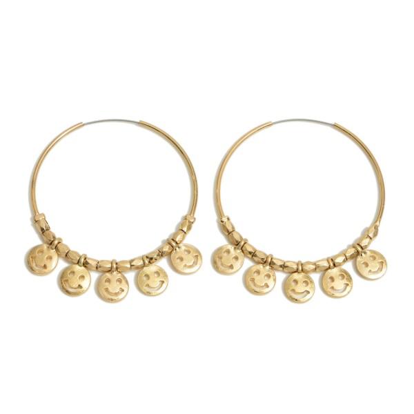 """Smiley Face Beaded Hoop Earrings in a Worn Finish.  - Smiley Face's approximately 1cm  - Approximately 2"""" in Hoop Diameter - Approximately 2"""" in Length"""