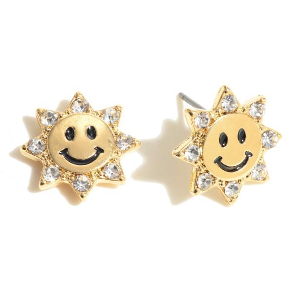 "Rhinestone Smiley Face Stud Earrings.  - Approximately .5"" in Diameter"