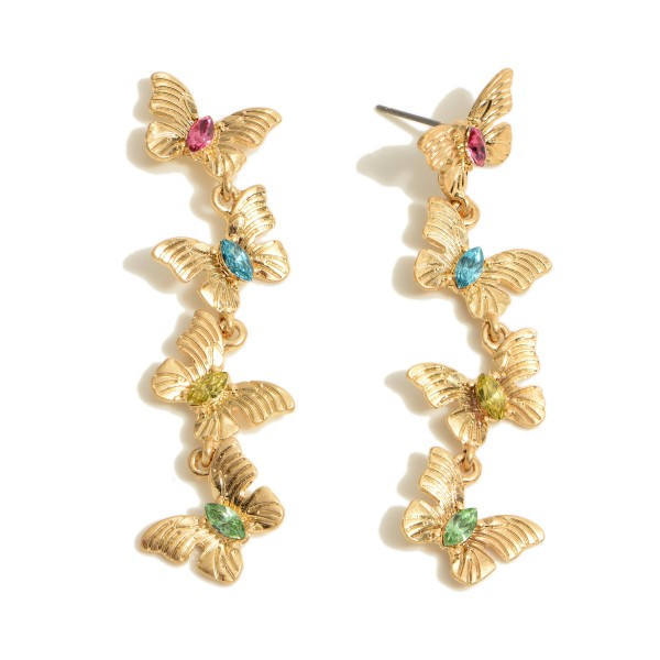 "Metal Butterfly Linked Drop Earrings Featuring Rhinestone Accents.  - Approximately 2.25"" in Length"