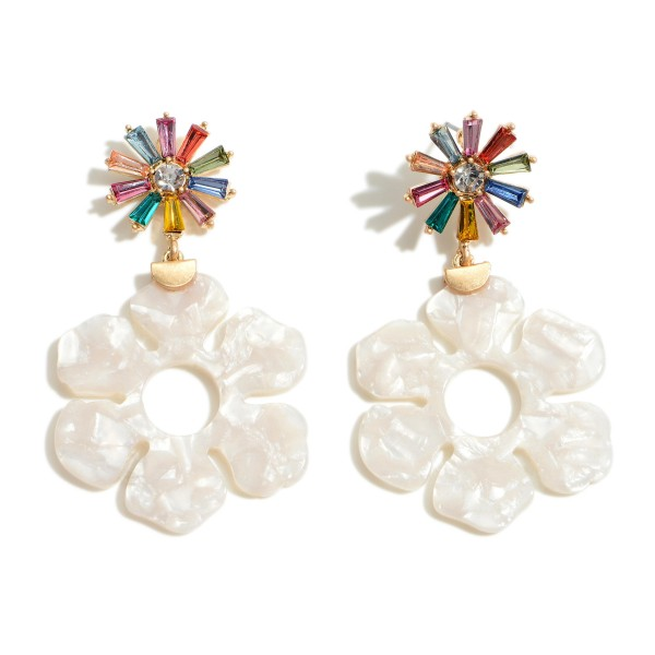 """Floral Resin Drop Earrings Featuring Rhinestone Accents.   - Approximately 2.5"""" Long"""