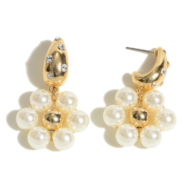 """Pearl Beaded Flower Drop Earrings Featuring Rhinestone Accents.  - Pearls 6mm in Diameter - Approximately 1.5"""" in Length"""