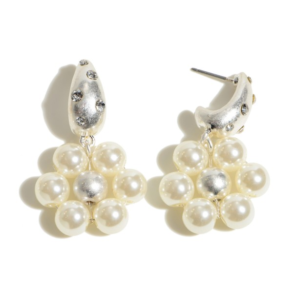 """Pearl Beaded Flower Drop Earrings Featuring Rhinestone Accents in a Worn Finish.  - Pearls 6mm in Diameter - Approximately 1.5"""" in Length"""