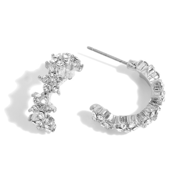 "Rhinestone Star Hoop Earrings.  - Approximately .75"" in Diameter"