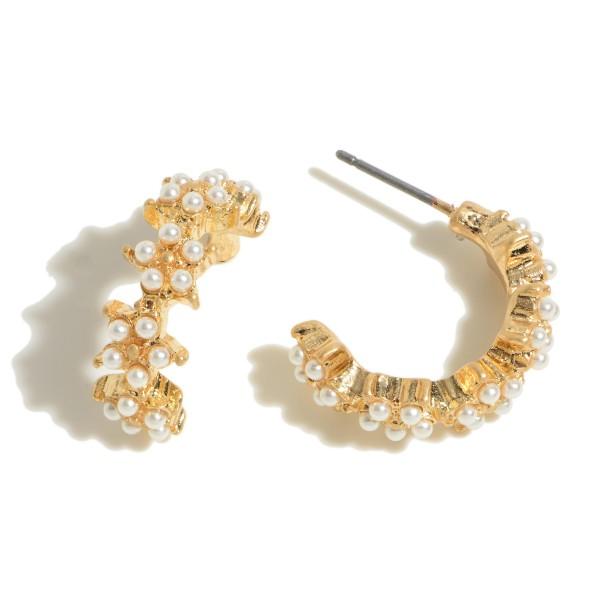 """Rhinestone Star Hoop Earrings.  - Approximately .75"""" in Diameter"""
