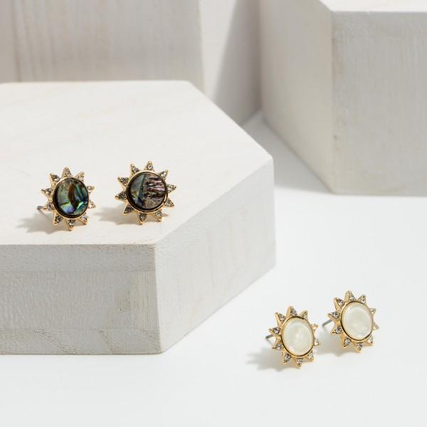 Rhinestone Abalone Stud Earrings.  - Approximately .5 in Diameter