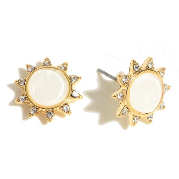 Rhinestone Mother of Pearl Stud Earrings.  - Approximately .5 in Diameter