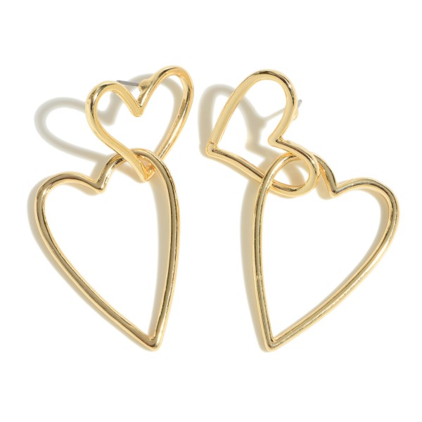 "Interlocked Heart Drop Earrings.  - Approximately 2"" in Length"