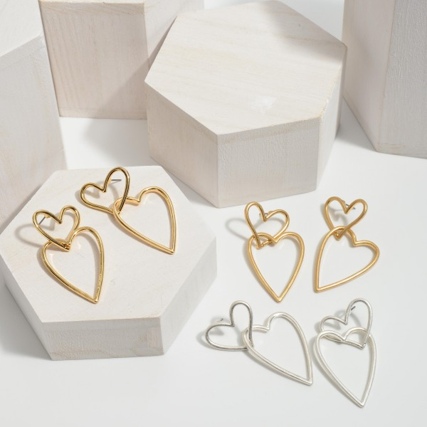 "Interlocked Heart Drop Earrings in a Worn Finish.  - Approximately 2"" in Length"
