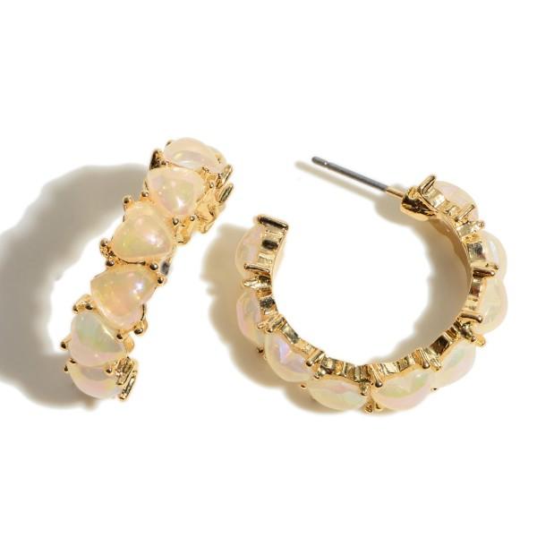 """Epoxy Heart Hoop Earrings.  - Approximately 1"""" in Diameter"""
